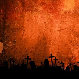 Detaillierte orange grunge hintergrund für halloween mit friedhof