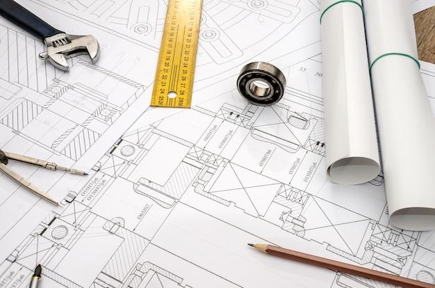 Detaillierte technische zeichnung auf papier - nahaufnahme