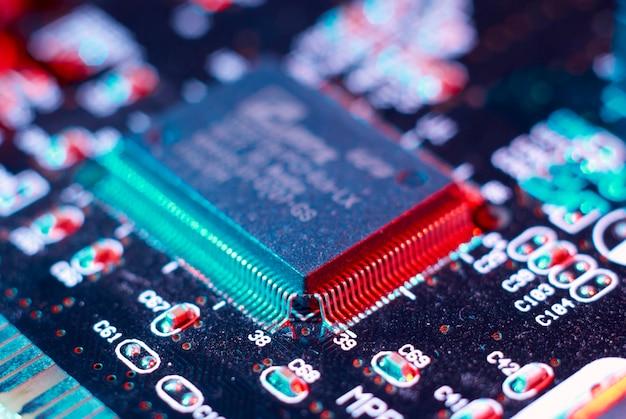 Detailliertes aussehen der schaltkreise eines computer-motherboards
