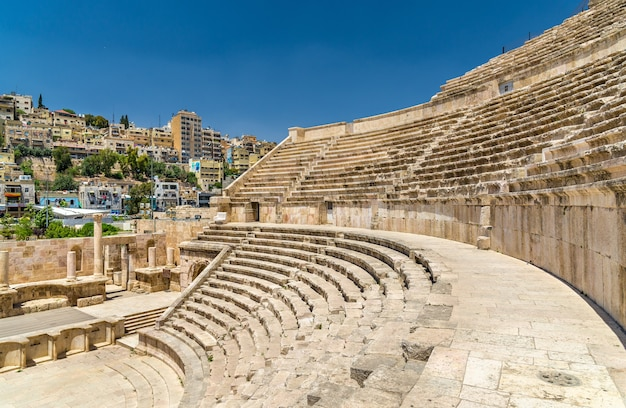 Details des römischen theaters in amman - jordanien