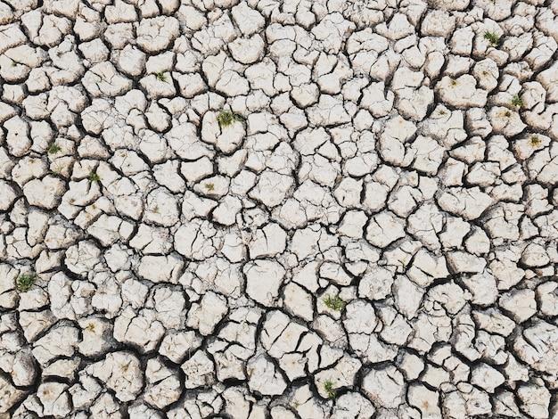 Details eines getrockneten rissigen erdbodengrundhintergrunds.