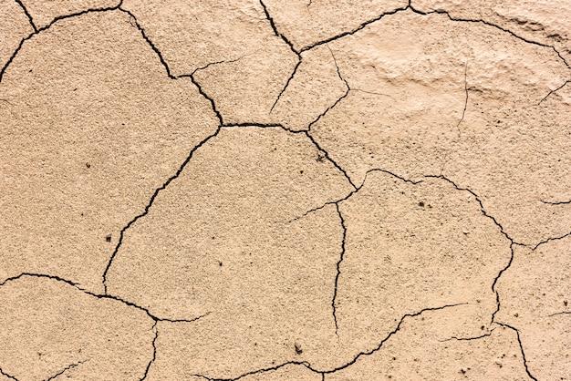 Details eines getrockneten rissigen erdbodens. hintergrund