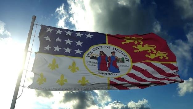 Detroit-stadtflagge, stadt der usa oder der vereinigten staaten von amerika, weht bei wind im blauen himmel. 3d-rendering