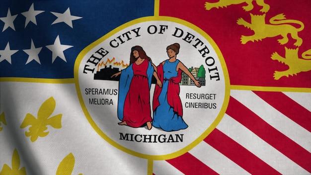 Detroit-stadtflagge, stadt der usa oder der vereinigten staaten von amerika, weht im wind. 3d-rendering.