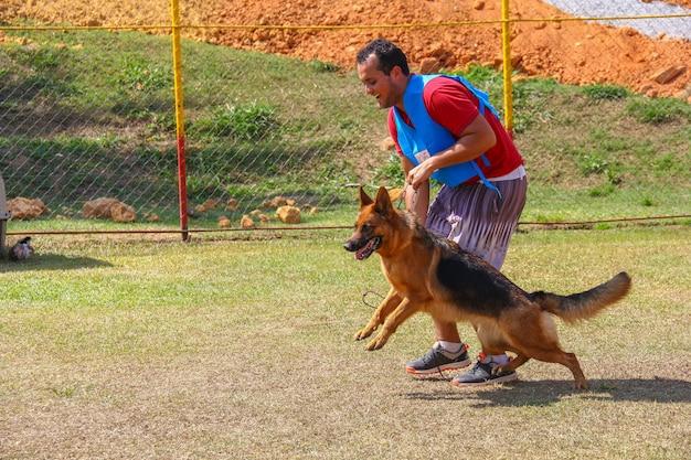 Deutscher schäferhund mit einem trainer, hundewettbewerb