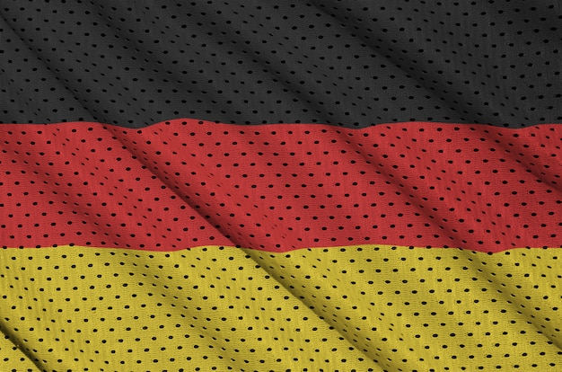 Deutschland-flagge gedruckt auf einem sportswear-netzgewebe aus polyester-nylon