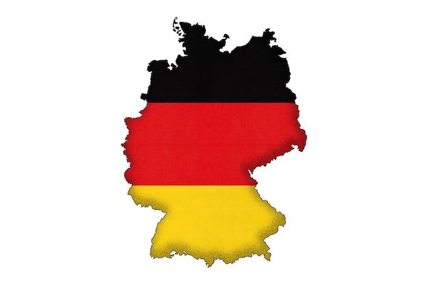 Deutschland-grenzschattenbild mit nationalflagge mit kopienraum. deutsches offizielles zeichen, kartographie.