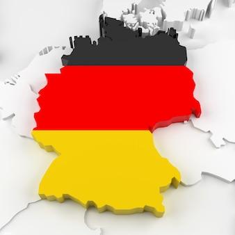 Deutschland-karte mit flagge. 3d-rendering