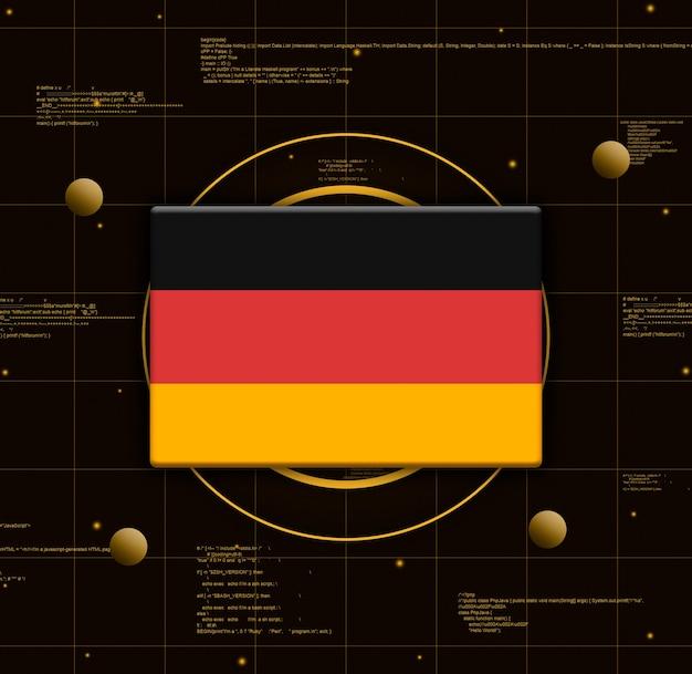Deutschlandflagge mit realistischen technologieelementen, 3d-rendering