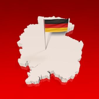 Deutschlandkarte und flagge auf rot