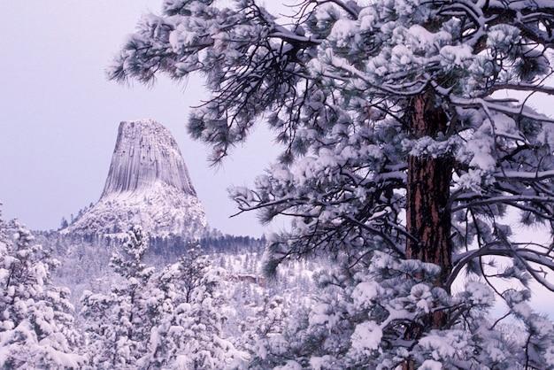 Devils tower und winterlandschaft, wyoming