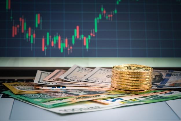 Devisenhandel mit bitcoin und banknote für geschäftskonzept