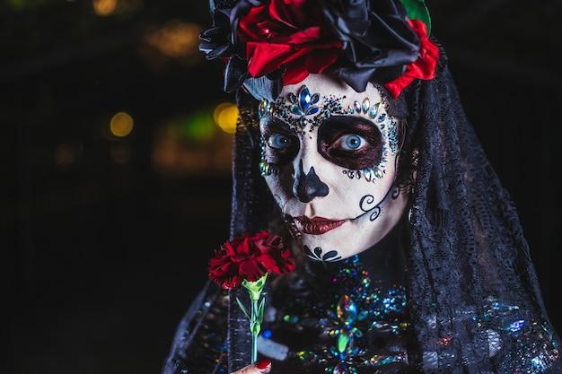 Dia de los muertos porträt einer jungen frau