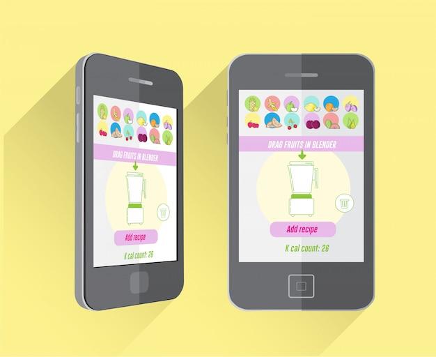 Diät und fitness-app auf dem smartphone-bildschirm