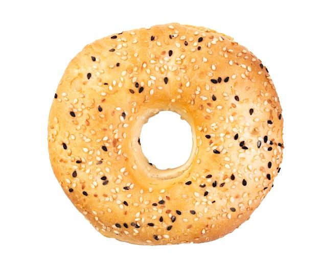 Diätet bagel mit sesam isolierte gesunde lebensmittel draufsicht