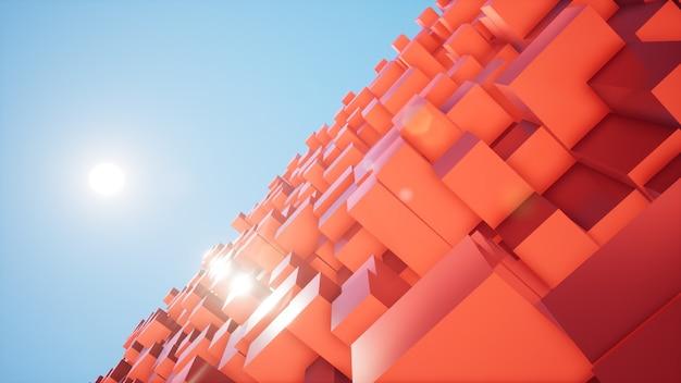 Diagonale sonne und roter kastenhintergrund