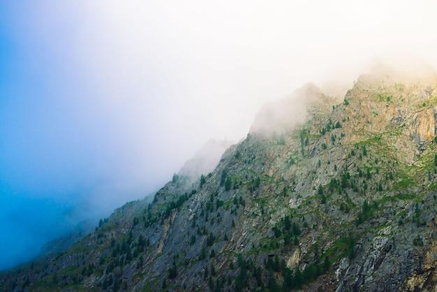Diagonaler berghang mit wald im morgennebel nah oben. riesenberg im dunst.