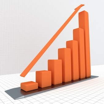 Diagramm mit dem wachsenden fortschritt. geschäftskonzepte Premium Fotos