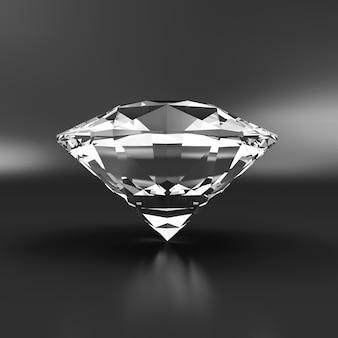 Diamant auf schwarzem reflexionshintergrund