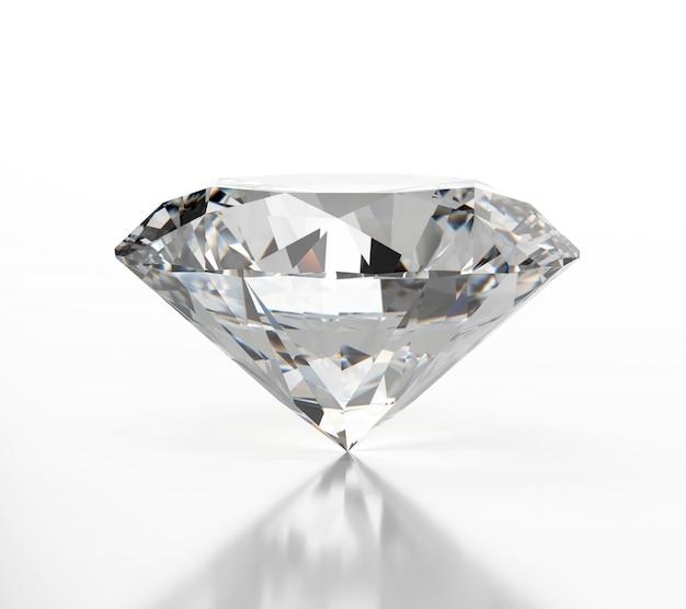 Diamant lokalisiert auf weißem hintergrund mit weicher reflexion,