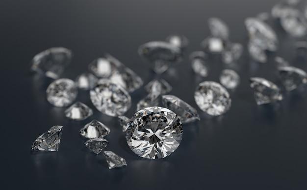 Diamantengruppe auf dunkelblauem hintergrund platziert