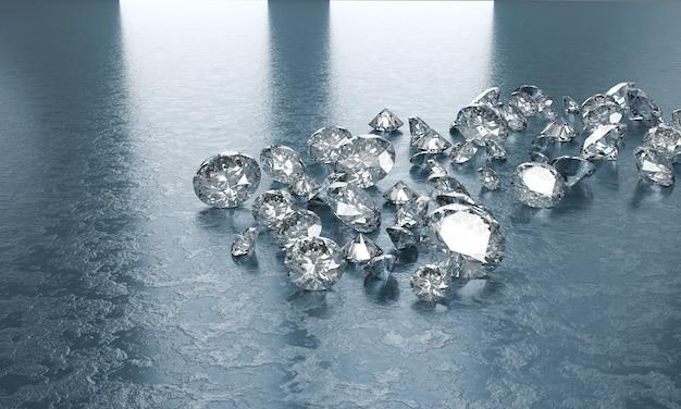 Diamantengruppe platziert auf blauem hintergrund, 3d illustration.