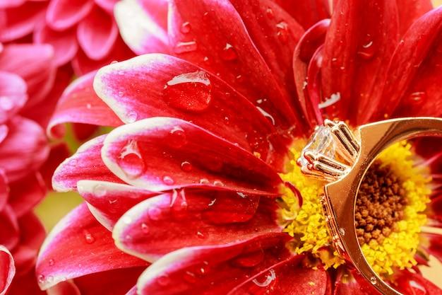 Diamantringe eheringe auf einem blumenstrauß von roten blumen