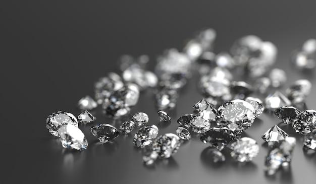 Diamond group auf schwarzem hintergrund mit soft-fokus-3d-rendering platziert