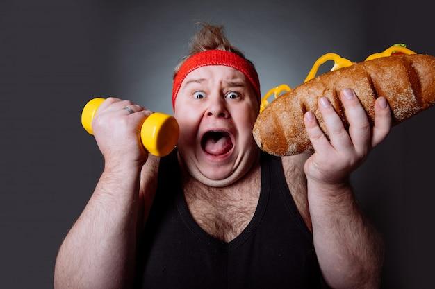 Dicker mann, kampf gegen fettleibigkeit konzept