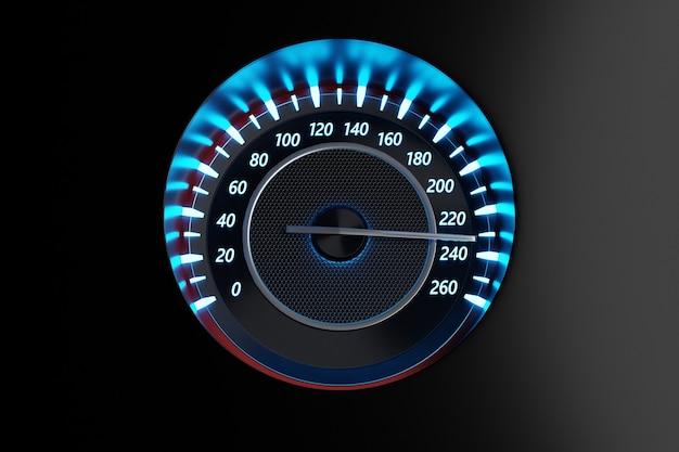 Die 3d-darstellung des armaturenbretts des autos wird durch helle beleuchtung beleuchtet