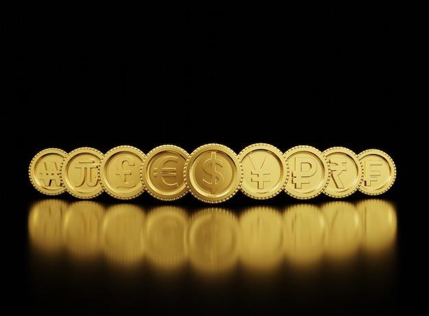 Die 3d-darstellung des austauschs von goldenen währungsmünzen umfasst dollar yen pound euro yuan won in der welt auf schwarzem hintergrund und kopierraum, forex-handel und anlagekonzept.