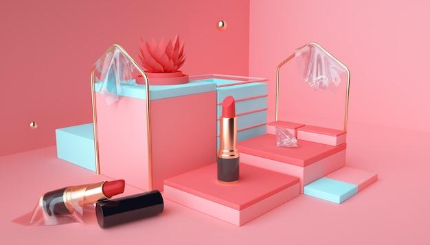 Die 3d-renderings des lippenstiftprodukts stehen auf einem rosa