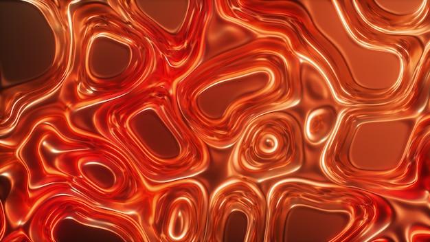 Die abstrakte animation der wellenförmigen oberfläche bildet wellen wie in der flüssigkeitsoberfläche und die falten wie im gewebe. roter seidiger stoff bildet schöne falten. 3d-illustration