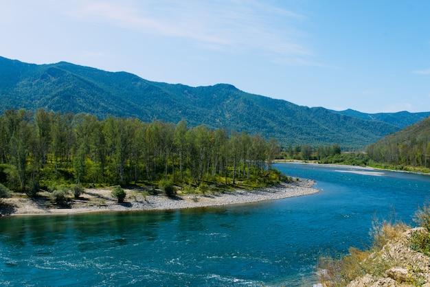 Die altai-landschaft mit gebirgsfluss und grünen hügeln, sibirien, altai-republik, russland
