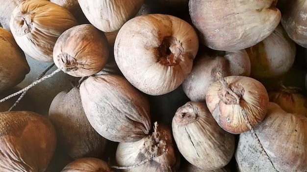 Die alte kokosnuss und kokos