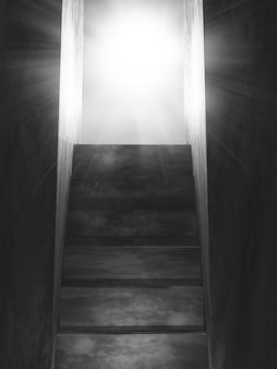 Die alte konkrete treppe 3d, die zu eine offene tür mit sonnenstrahlen führt
