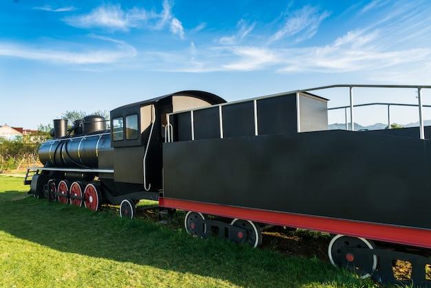 Die alten dampflokomotiven wurden im park gezeigt