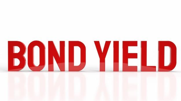 Die anleihe ergibt ein rotes wort auf weißem hintergrund für das rendern von geschäftsinhalten in 3d