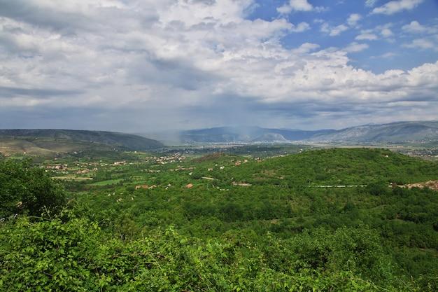 Die ansicht über mostar-stadt, bosnien und herzegowina