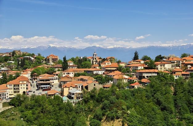 Die ansicht über signagi und alazani-tal, georgia