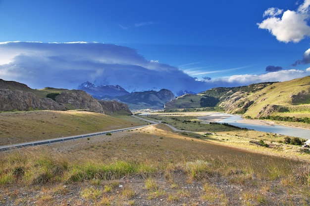 Die ansicht von el chalten in patagonien, argentinien