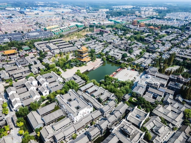 Die antike stadt taierzhuang, shandong, china aus der perspektive der luftaufnahmen