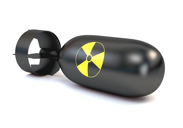 Die atombombe mit einer runden ikonenstrahlung, lokalisiert auf einem weißen hintergrund.