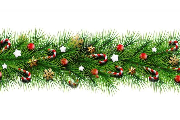 Die aufschrift frohen weihnachten, goldene niederlassungen eines weihnachtsbaums mit bällen, süßigkeit, schneeflocken und sternen.