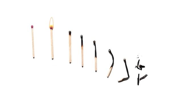 Die auswirkung des brennens auf übereinstimmungen, die wie ein abnehmendes diagramm aussehen