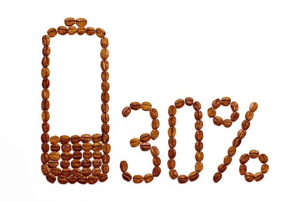 Die batterie lädt 30% der kaffeebohnen auf