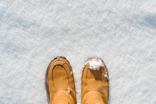 Die beine der frauen in den stiefeln im schnee