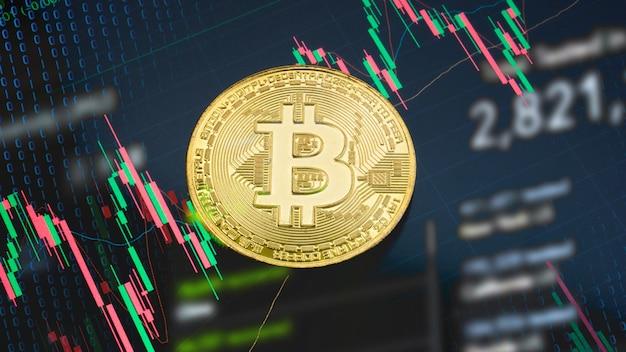 Die bitcoin auf geschäftsdiagramm für kryptographie oder geschäftskonzept