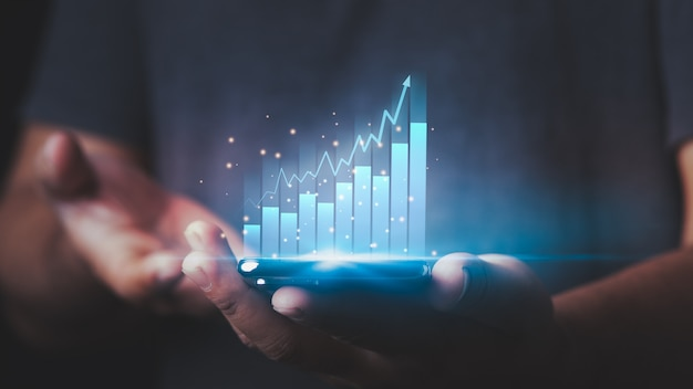 Die börse geschäftswachstumsfortschritt oder erfolgskonzept