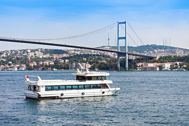 Die bosporus-brücke ist eine von zwei hängebrücken, die den bosporus überspannen und so europa und asien verbinden, istanbul